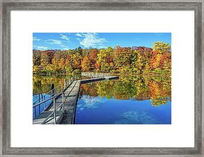 Footbridge Across Lake Framed Print
