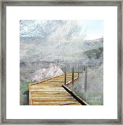 Footbridge In The Clouds Framed Print