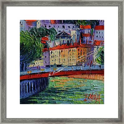 Footbridge On The Saone River Framed Print by Mona Edulesco