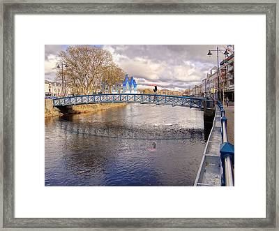 Footbridge Over The Garavogue River In Sligo With Reflections And Swans Sheltering Beneath It Framed Print