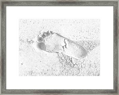 Footprint In The Sand Framed Print by Patrick Kain
