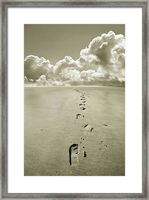 Footprints In Sand Framed Print by Mal Bray