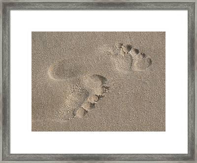 Footprints In The Sand 2 Framed Print by Susan  Lipschutz