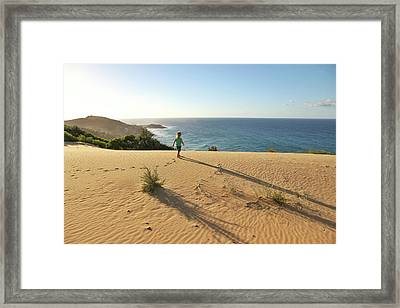 Footprints In The Sand Dunes Framed Print