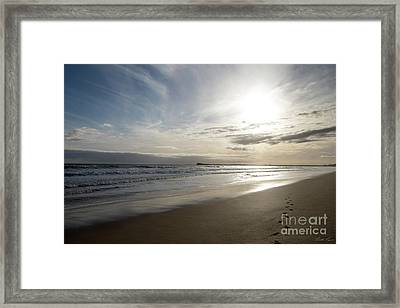 Framed Print featuring the photograph Footprints In The Sand by Linda Lees