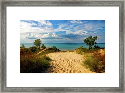 Framed Print featuring the painting Footprints In The Sand P D P by David Dehner