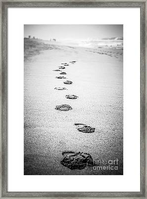 Footprints In The Sand Picture In Black And White  Framed Print