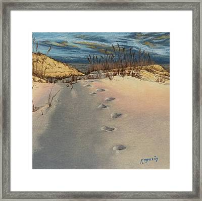 Footprints In The Snowy Dunes Framed Print