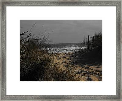Footprints In Winter Sand Framed Print by Kathryn Blackman