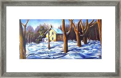 Footsteps In The Snow Framed Print by Diane Daigle