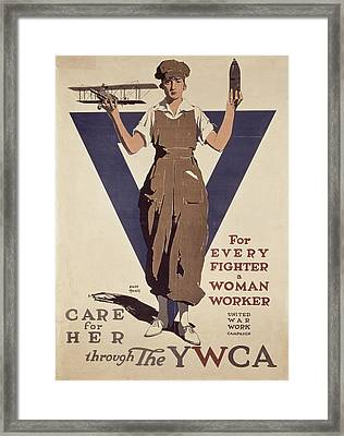 For Every Fighter A Woman Worker Framed Print by Adolph Treidler