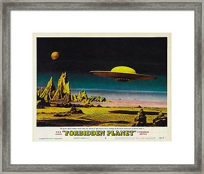 Forbidden Planet In Cinemascope Retro Classic Movie Poster Detailing Flying Saucer Framed Print