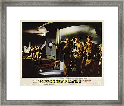 Forbidden Planet In Cinemascope Retro Classic Movie Poster Fighting The Invisible Alien Framed Print