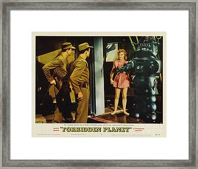 Forbidden Planet In Cinemascope Retro Classic Movie Poster Indoors With Robby Framed Print