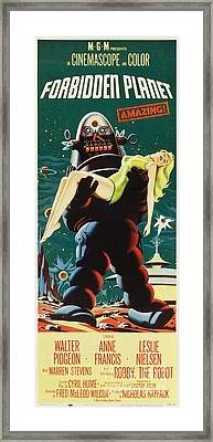 Forbidden Planet In Cinemascope Retro Classic Movie Poster Portraite Framed Print