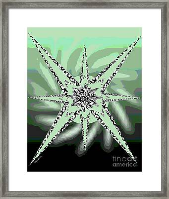 Forceful Movement In Solarized Greens Framed Print