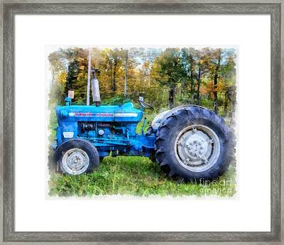 Framed Print featuring the painting Ford 4000 Vintage Tractor by Edward Fielding