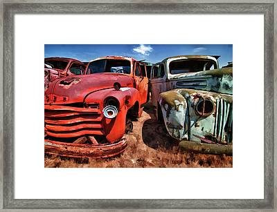 Ford And Chevy Standoff Framed Print
