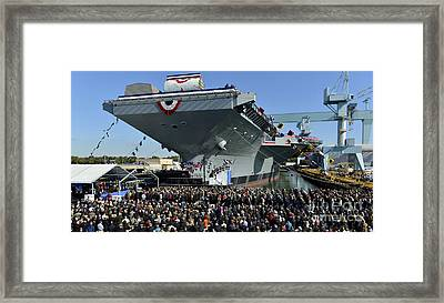 Ford-class Supercarrier In The Newport Framed Print by Stocktrek Images