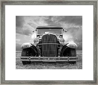 Ford Coupe Head On In Black And White Framed Print by Gill Billington