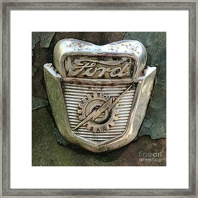 Framed Print featuring the photograph Ford Emblem by Terry Rowe