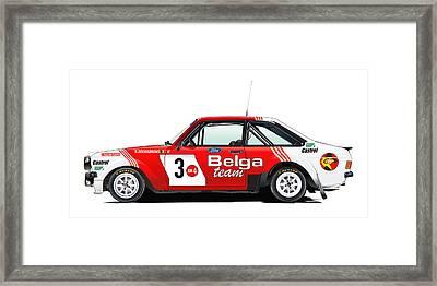 Ford Escort Rs Belga Team Illustration Framed Print by Alain Jamar