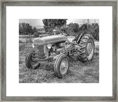 Ford Farm Tractor Black And White Framed Print by Ken Smith