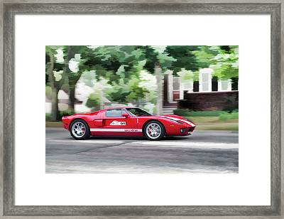 Ford Gt Entering Lake Mills Framed Print by Joel Witmeyer