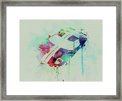 Ford Gt Top Watercolor  Framed Print by Naxart Studio