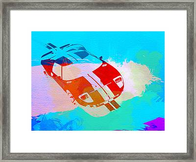 Ford Gt Watercolor  Framed Print by Naxart Studio