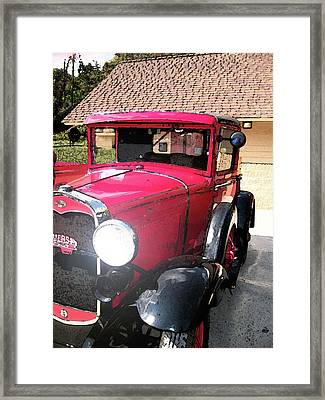 Framed Print featuring the photograph Ford In Red by Larry Bishop