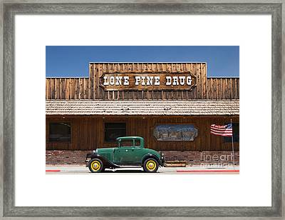 Ford Model A And Drug Store Framed Print by Ei Katsumata