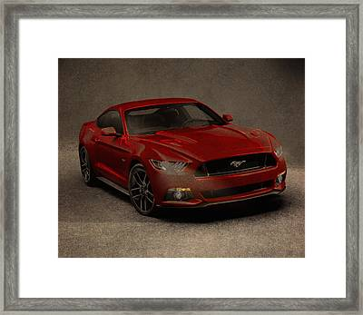 Ford Mustang 2015 Watercolor Pencil Charcoal Sketch On Worn Distressed Canvas Framed Print