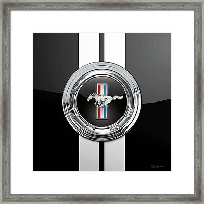 Ford Mustang 3 D Badge Special Edition On Black With White Stripes Framed Print