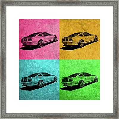 Ford Mustang Vintage Pop Art Framed Print by Design Turnpike