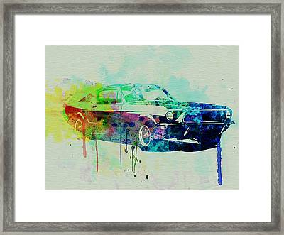 Ford Mustang Watercolor 2 Framed Print by Naxart Studio