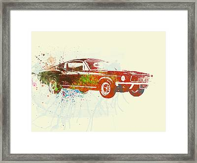 Ford Mustang Watercolor Framed Print