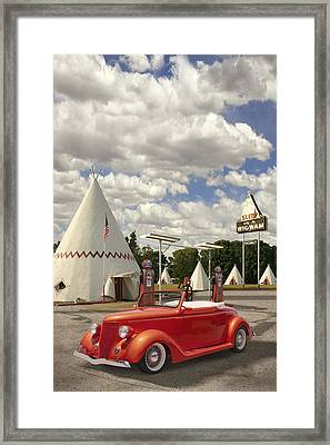 Ford Roadster At An Indian Gas Station Framed Print by Mike McGlothlen