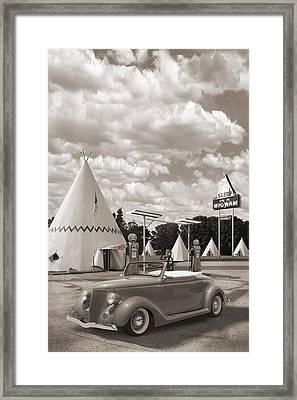 Ford Roadster At An Indian Gas Station Sepia Framed Print by Mike McGlothlen
