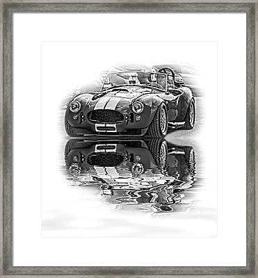 Ford/shelby Ac Cobra - Reflection Bw Framed Print by Steve Harrington