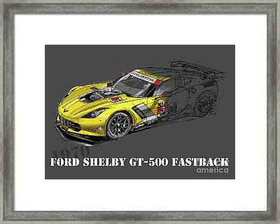 Ford Shelby Gt500 Fastback, Yellow And Black Sketch Framed Print