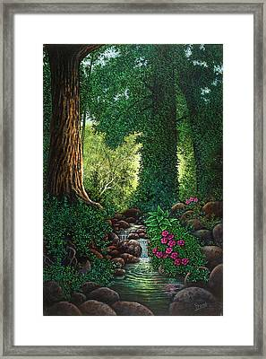 Framed Print featuring the painting Forest Brook II by Michael Frank