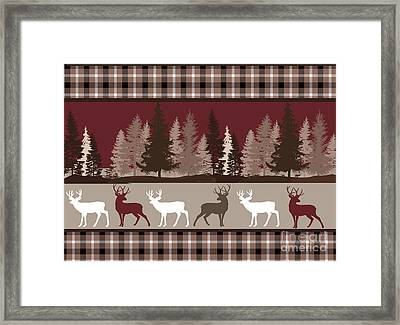 Forest Deer Lodge Plaid Framed Print