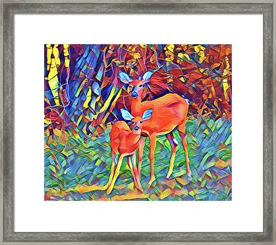 Forest Doe And Fawn Framed Print