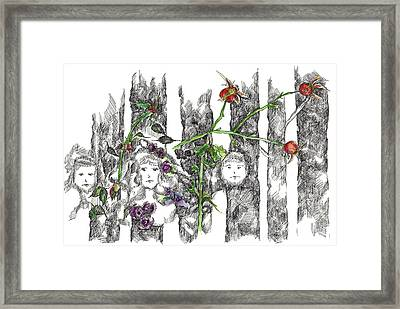 Framed Print featuring the drawing Forest Faces by Cathie Richardson