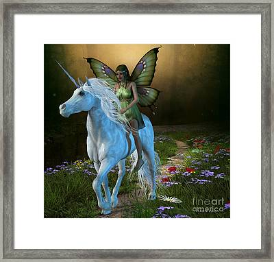 Forest Fairy And Unicorn Framed Print