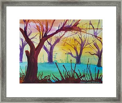 Framed Print featuring the painting Forest Fanale by Angelique Bowman