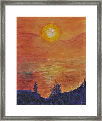 Forest Fire At Night  Framed Print by Cathy Renoe
