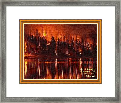 Forest Fire - Reflected H A With Decorative Ornate Printed Frame. Framed Print