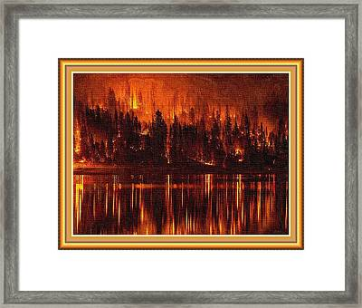 Forest Fire - Reflected H B With Decorative Ornate Printed Frame. Framed Print